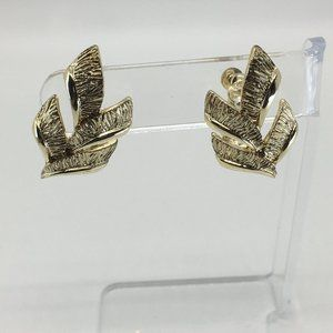 Etched GoldTone leaf earrings